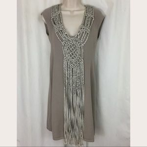 Boston Proper silk cashmere blend crochet dress